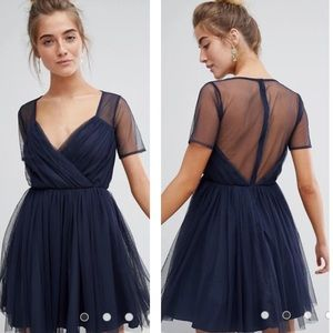 ASOS Navy Blue Tulle Mini Dress with Sheer Sleeve